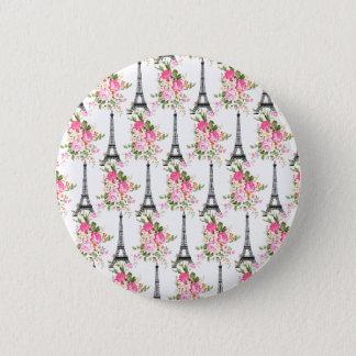 Floral Eiffel Tower Pinback Button