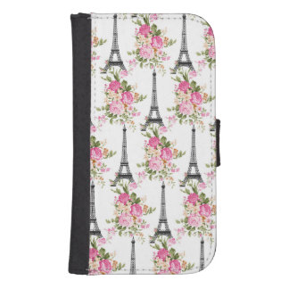 Floral Eiffel Tower Galaxy S4 Wallet Cases