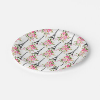 Floral Eiffel Tower 7 Inch Paper Plate