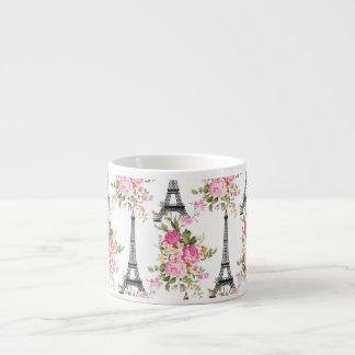Floral Eiffel Tower 6 Oz Ceramic Espresso Cup
