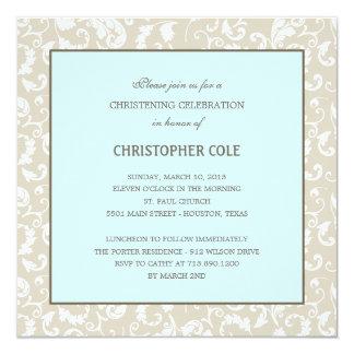 "Floral Elegance Baptism/Christening Invitation 5.25"" Square Invitation Card"