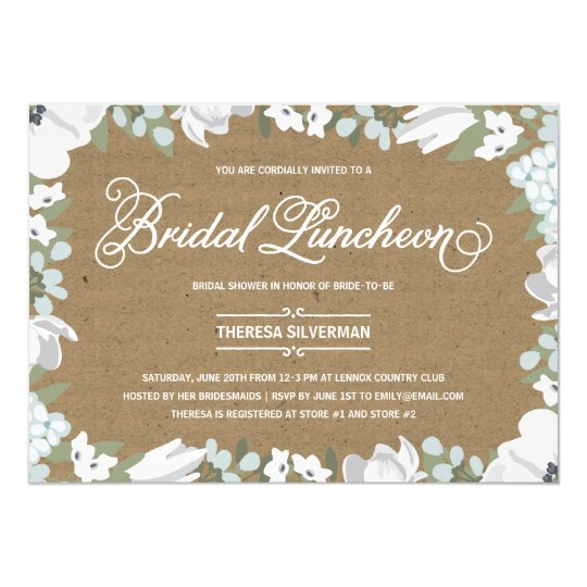 floral elegance bridal shower luncheon invitation