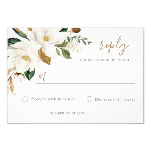 Floral Elegant Magnolia Blush Neutral Wedding RSVP Invitation