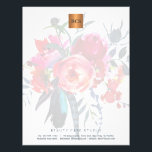 """Floral elegant metallic gold copper monogrammed letterhead<br><div class=""""desc"""">Simple luxurious glamorous letterhead  with hand painted watercolor peonies bouquet for business / professional use with monogrammed shiny beige tan copper metallic look geometric square label. Perfect choice for a stylish feminine sophisticated business image. ----- Personalize it with your business name and initials / monogram and your contact details!</div>"""