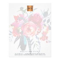 Floral elegant metallic gold copper monogrammed letterhead
