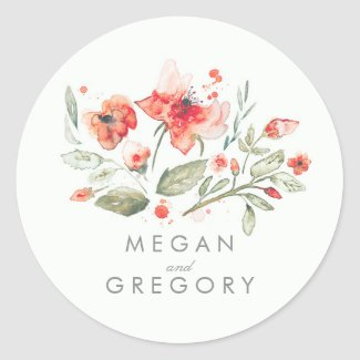 Floral Elegant Watercolor Wedding Classic Round Sticker