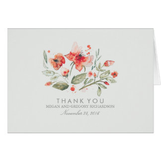 Floral Elegant Watercolor Wedding Thank You Card