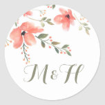 Floral Elegant Wedding Stickers-Watercolor Flowers Classic Round Sticker