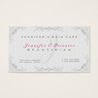 Floral Elegant White Damasks & Gray Frame Business Card