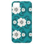 floral elegante azul iPhone 5 protectores