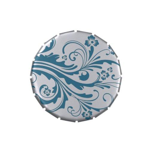 Floral elegante azul y blanco