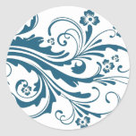 Floral elegante azul y blanco etiqueta redonda
