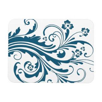 Floral elegante azul y blanco imanes rectangulares