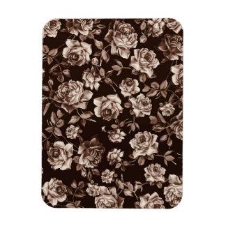 Floral elegante de la sepia del tono del vintage e imán foto rectangular