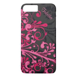 Floral elegante del negro intrépido de las rosas funda iPhone 7 plus