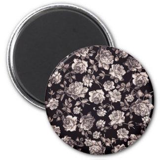 Floral elegante elegante de moda del vintage negro imán para frigorífico