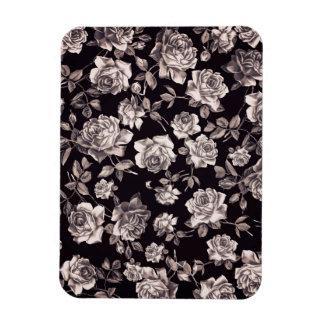 Floral elegante elegante de moda del vintage negro iman rectangular