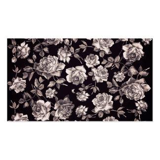 Floral elegante elegante de moda del vintage negro plantilla de tarjeta personal