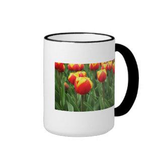Floral elegante taza de dos colores
