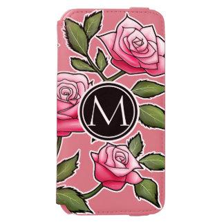 Floral elegante y monograma funda billetera para iPhone 6 watson