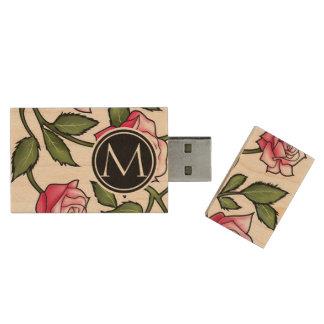 Floral elegante y monograma pen drive de madera USB 2.0