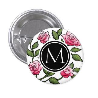 Floral elegante y monograma pin redondo de 1 pulgada