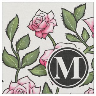 Floral elegante y monograma telas