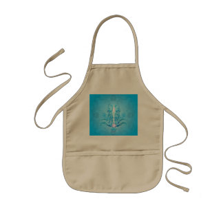 Floral elements on soft blue background kids' apron
