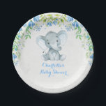 "Floral Elephant Baby Boy Shower Blue Party Plate<br><div class=""desc"">Elephant / blue floral theme paper plate - perfect decoration for baby shower,  baby sprinkle,  birthday party,  etc.</div>"