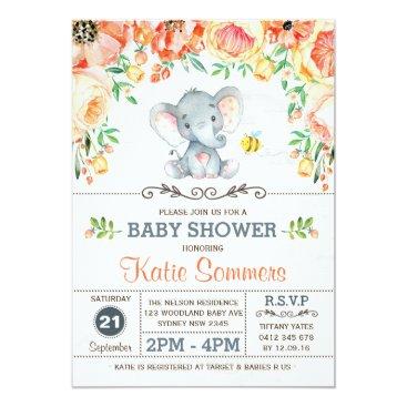 McTiffany Tiffany Aqua Floral Elephant Baby Shower Autumn Fall Invitation