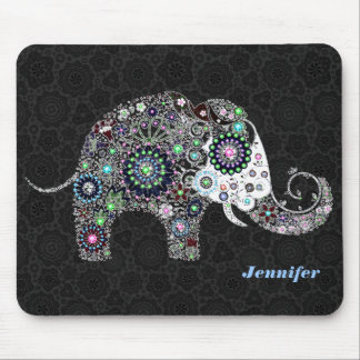 Floral Elephant & Faux Diamonds Illustration Mouse Pad