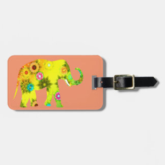 Floral, Elephant, Funny, Colorful Bag Tag