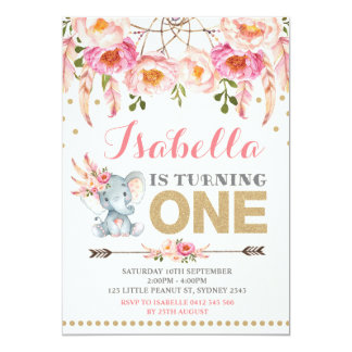 Floral Elephant Invitation Pink Gold Boho Birthday