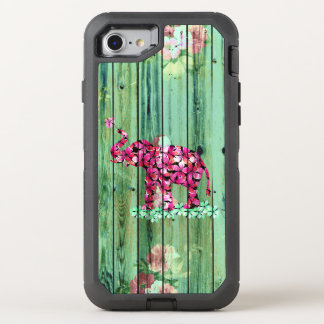 Floral elephant pink sakura green striped wood OtterBox defender iPhone 7 case
