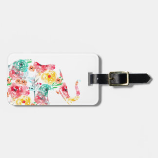 Floral Elephant Print Bag Tag