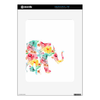Floral Elephant Print Decals For iPad
