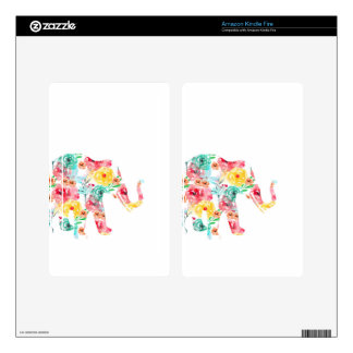 Floral Elephant Print Decals For Kindle Fire