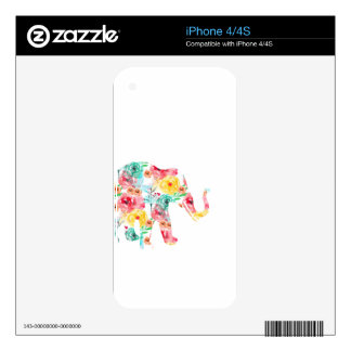 Floral Elephant Print Skin For The iPhone 4S