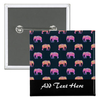 Floral Elephants Cute Girly Pattern Buttons