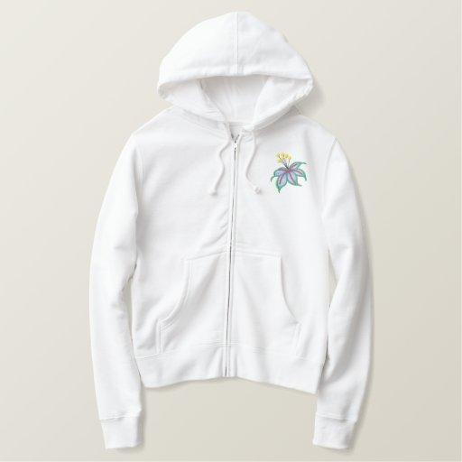 Floral Embroidered Ladies Zip up Hoodie Jacket