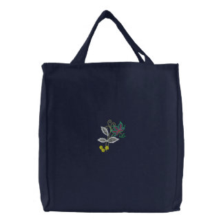Floral Embroidered Reusable Tote Bag