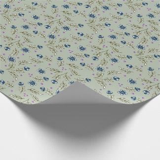 floral en azul papel de regalo