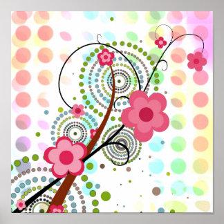 Floral en puntos póster