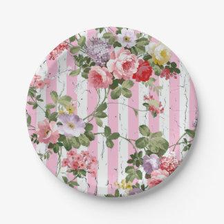 Floral en raya rosada resistida platos de papel
