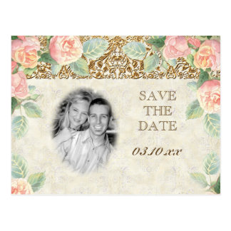 Floral English Rose & Gold Save the Date Cards