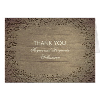 Floral Engraved Wood Rustic Wedding Thank You Card