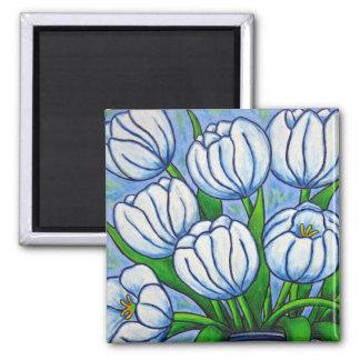 Floral enrrollado - imán blanco del tulipán
