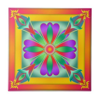 Floral Exotic Colorful Kitchen or Bathroom Tile