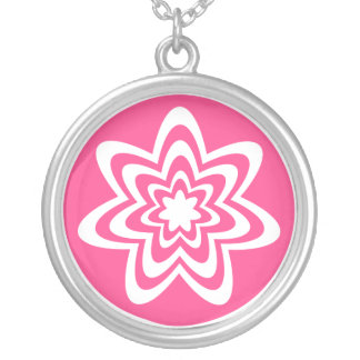 Floral Explosion Necklace, Bright Pink Round Pendant Necklace
