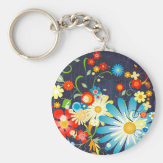 Floral Explosion of Color on Blue Basic Round Button Keychain
